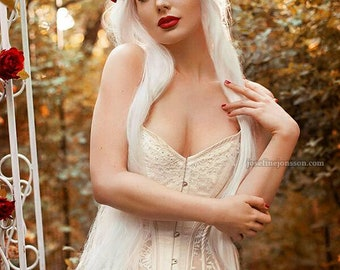 BESPOKE Ivory and Sheer lace overbust corset