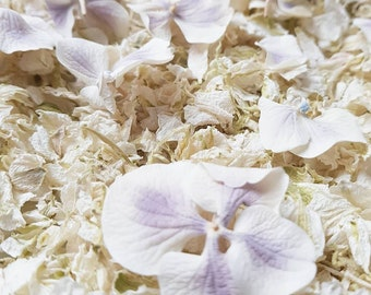 Light purple and ivory-petal mix with -Natural wedding / Delphinium ,Hydrangea petal Biodegradable, purple, Ivory
