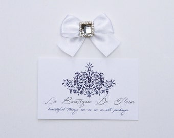 Handmade Satin Ribbon Bows with Square Diamante or Pearl