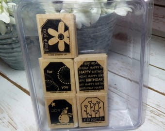 Terrific Tags Stampin Up, Tag Stamp, Thank You Stamp, For You Stamp, Happy Birthday Stamp, RUBBER STAMPS