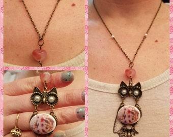Floral owl dangle necklace