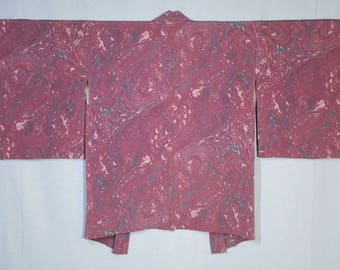 Women's vintage, unused, Haori kimono jacket - pink and gray abstract marble