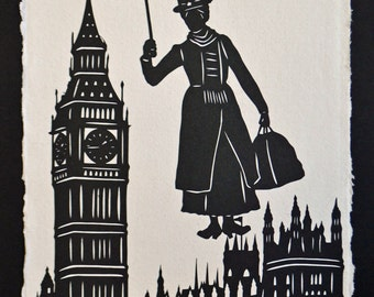 MARY POPPINS Papercut - Hand-Cut Silhouette