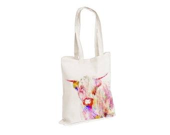 Highland Cow - Watercolour watercolor Tote Canvas bag, White, Reusable Shopping Bag