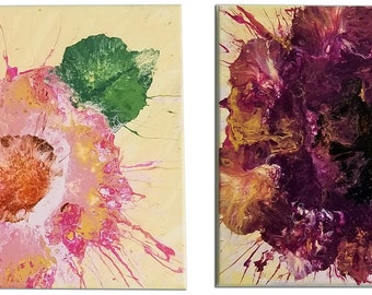 Original OAC abstract poppies SET 12x48 (2ea 12x24).  Acrylic painting.