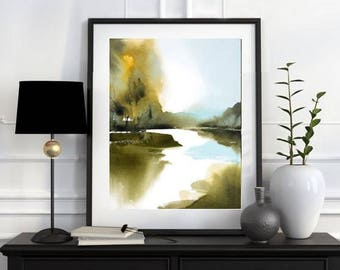 Watercolor Landscape Print, Green Blue Art Print, Unique Art, Marsh Painting Abstract Wall Art Prints, Living Room Art, Calming Art White