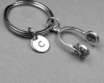 Headphones keychain, headphones charm, music keychain, personalized keychain, initial keychain, initial charm, customized, monogram