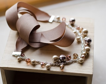 Ribbon necklace - chunky taupe pearls, rose crystals & vintage ribbon