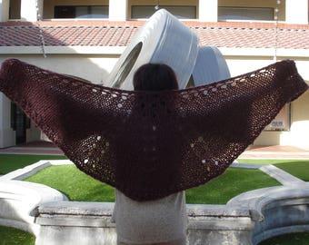 Burgundy Knit Shawl Shoulder Wrap Acrylic/Wool Blend