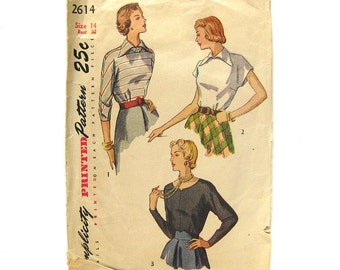 1940s Vintage Sewing Pattern - Simplicity 2614 - Misses' Back Button Blouse / Rockabilly Style / Size 14