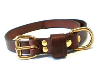 "3/4"" Rich Brown Chahin English Bridle Leather Plain Dog Collar w/ Solid Brass Hardware and Leather Keeper"