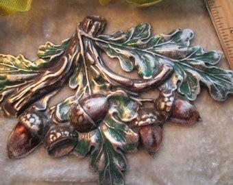 metal stamping oakleaf acorns autumn design metal/woodwork supply brass filigree