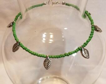 "9"" Green and Silver Leaf Ankle Bracelet"