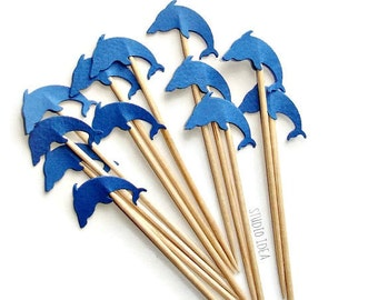 24 Blue Dolphin Cupcake Toppers, Food Picks-Set of 24 pcs