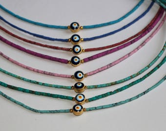 Free Shipping. Colorful Beads Necklace with turkish eye
