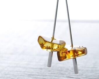 girlfriend gift for her silver earrings gemstone jewelry girlfriend open hoop earrings jewelry amber women