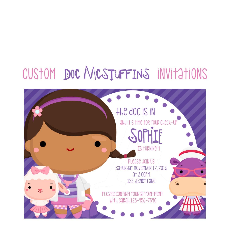 Doc Mcstuffins Birthday Invitation Custom girl doctor Party