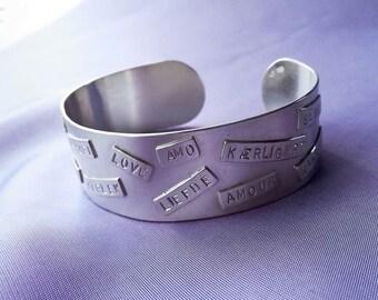Simple sterling silver cuff bracelet. Romantic gift for her. Statement jewelry bracelet. Scandinavian modern minimalist jewelry design.