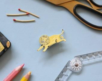 Jumping Lion Illustration Brooch made of Shrink Plastic