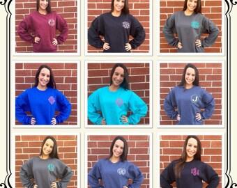 Quick SHIP / Ladies monogrammed sweatshirt , personalized sweatshirt , monogram sweatshirt , perfect ladies CHRISTMAS GIFT