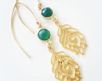 14k gold green onyx earrings