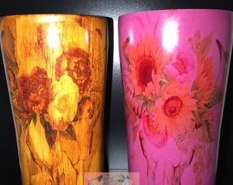 wood grain boho/ cow skull cup