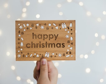 Happy Christmas Wood Holiday Card