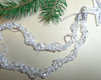 Clear Crystal necklace, Swarovski crystal necklace, Multi strand necklace, bridal, wedding, statement, evening, twisted, freeform, woven