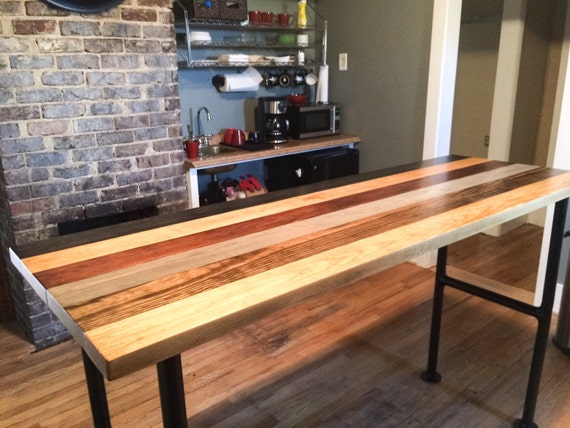 Urban Industrial Pub Table With Black Iron Legs Multi Stained
