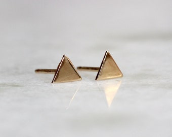 Solid 10K Triangle Studs, Gold Studs, Geometric Studs, Yellow Gold, Rose Gold
