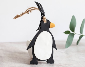 Penguin, penguin gift, winter decor, black penguin, christmas penguin, penguin decor, penguin decoration