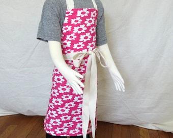 Children's canvas apron - cotton canvas pink flower print