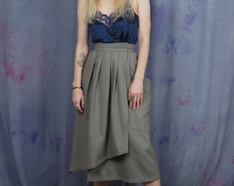 "vintage 80's MONDI avant garde wool skirt // asymetrical high waist pleated // minimalist grunge // waist 24"""