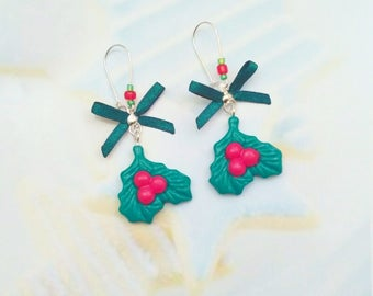 earrings holly leaves polymer clay