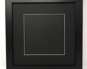 """10x10 1.25"""" Black Solid Wood Picture Frame with Black Mat Cut for 6x6 Picture"""