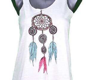woman tank top printed dreamcatcher dream catcher ethnic style - one size (36-40) / / woman dreamcatcher tank top - one size