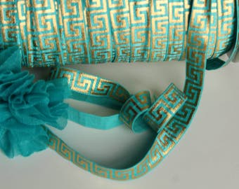 "5/8"" Fold Over Elastic FOE Teal Blue & Gold Egyptian Print"