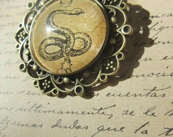 Snake and Moon-magic symbol-cabochon talisman