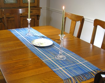 "60"" Hand Woven Blue Plaid Table Runner Hand Woven Table Scarf Woven Buffet Scarf Hand Woven Blue Table Linens Hand Woven Table Topper"