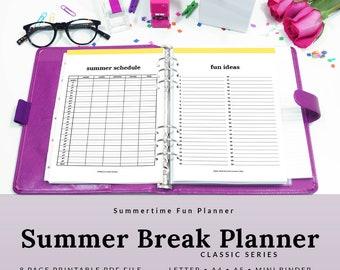 Summer Break Printable Planner 2018 Summer Vacation Summer Planner Schedule Bucket List | PSMR-1100-A, INSTANT DOWNLOAD