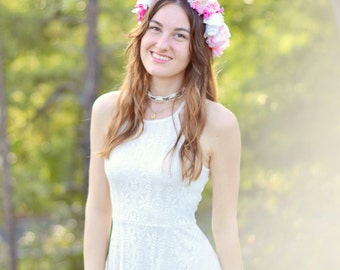 Light Pink, Dark Pink and White Floral Crown