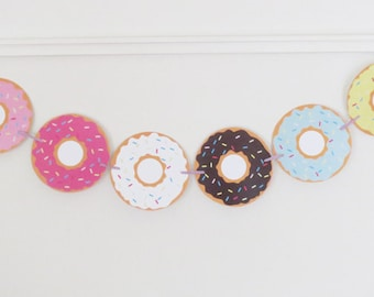 Donut Banner Donut Decorations Donut Decor Donut Printable Donut Garland Donut Party Doughnut Banner Instant Download