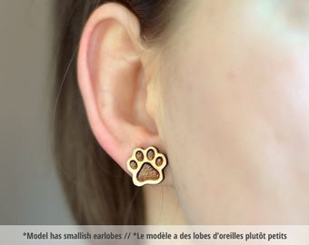 Wood Paw studs. Wood paw print earrings, animal jewelry, paw print jewelry, woodland animals, cat studs, dog studs, cat jewelry, dog jewelry