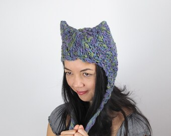 Purple Kitty Hat Cat Hat in Blue Green and Purple Lavender Hand Knit Wool Hat