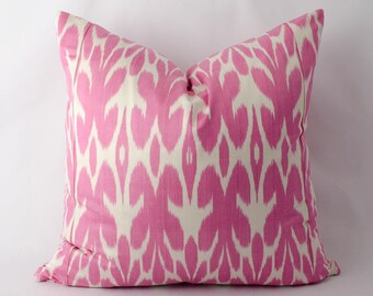 18x18 pink, ikat pillow cover, ikat cushion, accent pillow, throw pillow