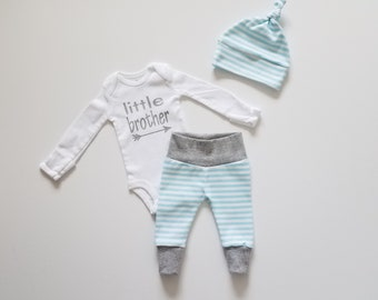 Baby Boy Newborn Take Home Outfit. Little Brother Coming Home Outfit. Simple Stripes. Baby Boy Outfit Gift Set. Boy Coming Home Outfit.
