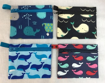 Whales Zipper Coin Purse, Card Case, Earbud Pouch, IPod Holder
