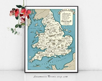 ENGLAND MAP PRINT - charming vintage picture map to frame - size and color choices - personalize it - perfect gift for many occasions