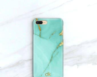 iPhone X Personalized Phone Case, iPhone 8, Plus Aqua Marble iPhone 7, Plus Case, Marble Turquoise and Gold, iPhone 6S Plus Case, SE, 5S