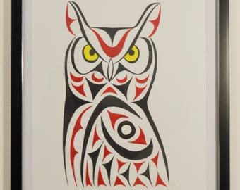 Coast Salish Great Horned Owl Print - Limited Edition